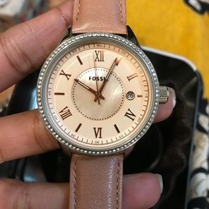 NEW! Fossil Rose Gold Leather Crystal w/Box Watch